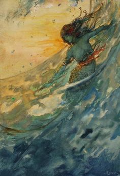 """oldchildrensbooks: """" The Mermaid.c.1910. Original illustration. Probably published as a calendar print or story illustration. Watercolor on paper. Signed 'Larer' lower right. Source : ha.com. """""""