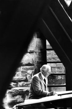 Frank Lloyd Wright working at his home Taliesin in Wisconsin, 1956.
