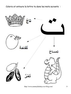 Arabic alphabet for kids coloring page Te come corona e
