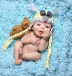 "OOAK Handscuplted Miniature Polymer Clay Baby Boy Art Doll "" Ethan """