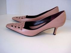 NEW! $200 Designer Via Spiga Heels Pumps Pink Leather Animal Print Front 8 1/2M  #ViaSpiga #PumpsClassics #WeartoWork