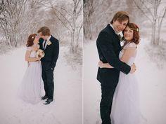 bride & groom in the snow