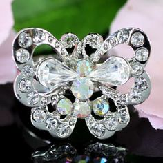 White Gold Butterfly Austrian Crystal Ring