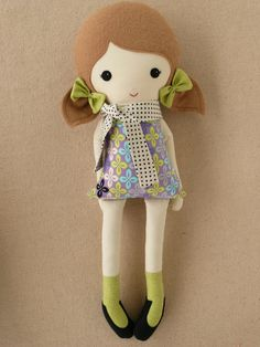 Fabric Doll Rag Doll Girl in Polka Dotted Scarf. $35.00, via Etsy.