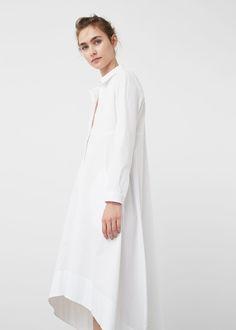 Asymmetric hem dress - f foMidi Woman Mango Outlet, Robes Midi, Estilo Fashion, Muslim, What To Wear, High Neck Dress, Clothes, Dresses, Ireland