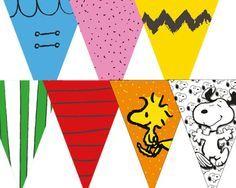 Bandeirola para Mesa Parabéns Snoopy | Rabisco Colorido | Elo7