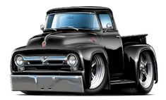 Buy 1956 Ford Pickup Truck Wall Graphic Decal Sticker Man Cave Garage Decor Boys Room Decor by Viesin Hot Rod Trucks, Old Trucks, Pickup Trucks, Chevy Trucks, F100 Truck, Truck Drivers, Auto Cartoon, Cars Cartoon, Classic Trucks