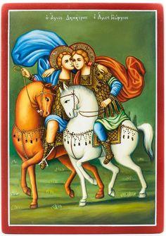 Χειροποίητη αγιογραφία, (ζωγραφισμένη στο χέρι) με τον Άγιο Γεώργιο & τον Άγιο Δημήτριο Jesus Wallpaper, Saints, Greek, Angel, Art, All Saints Day, Art Background, Greek Language, Angels