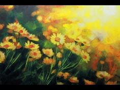 How to paint a Field of Flowers: Acrylic Landscape painting Leason. | Daisies Field by Samuel Durkin