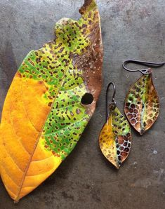 Enamel Earrings/Enamel Jewelry/Nature Art/Enamel/Copper/Dangle Earring/Organic/Enamel Leaf/Ready To Flame Design, Enamel Jewelry, Jewellery, Yellow And Brown, Etsy, Dangles, Art Pieces, Pottery, Beautiful