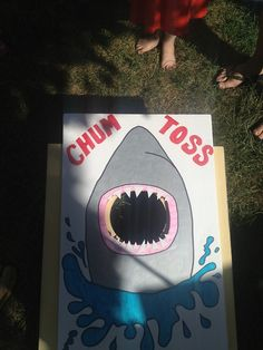 I'm thinking get some slippery metallic fabric and see about making fishy bean bags? Have Marco make the shark on poster board and put on top of cornhole. Mermaid Party Games, Mermaid Parties, Ocean Party, Shark Party, 6th Birthday Parties, Birthday Ideas, 8th Birthday, Under The Sea Party, Jackson