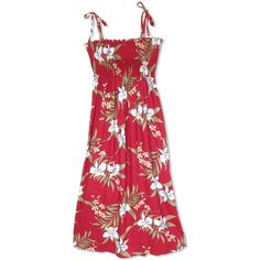 Bamboo Orchid Red Maxi Hawaiian Dress (26.805 CRC) ❤ liked on Polyvore featuring dresses, hawaiian print maxi dress, beach dresses, beach maxi dress, floral dresses and fitted dresses