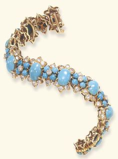 A TURQUOISE AND DIAMOND BRACELET, BY VAN CLEEF & ARPELS  Composed of a series of nine cabochon turquoise, each flanked vertically by circular-cut diamond palmette motifs, alternately-set by smaller cabochon turquoise and circular-cut diamond foliate spacers, mounted in gold