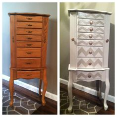 Check out my guest blog spot on Breezy Cheetah Pop! Jewelry Armoire redo. #chevron #diy