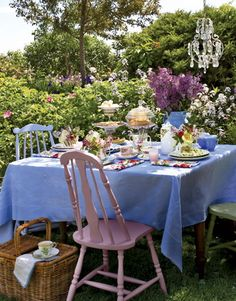 tea party {Country Living}- Love the chairs,I need about 14 of them for my next party
