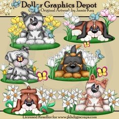 Spring Puppies Clip Art Set - Created by Jamie Kay - Great for Printable Crafts, Scrapbooking, Embroidery Patterns, and more!