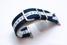 Apple Watch Replacement Band Strap for 42mm Apple Watch Silver/Stainless Steel - Navy Blue/White Stripe Nylon