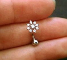 16g CZ Snowflake Belly Button Ring, rose gold flower belly ring, gold belly rings, small belly rings naval ring belly piercing belly jewelry by ShopOrigamiJewels on Etsy https://www.etsy.com/ca/listing/399344019/16g-cz-snowflake-belly-button-ring-rose