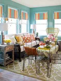 love the colors and eclectic mix of furnishings