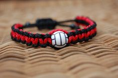 Red and Black Trendy Volleyball bracelet /  Volleyball Jewelry / Volleyball Team / Volleyball Mom /