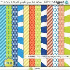 Quality DigiScrap Freebies: Cut-Offs & Flip Flops paper pack freebie from Kristin Aagard Designs
