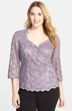 Alex Evenings Side Closure Lace Blouse (Plus Size) available at #Nordstrom
