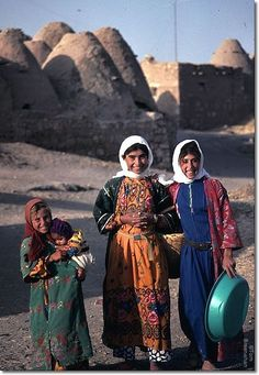 Girls in their traditional clothing, in Harran (south of Urfa).  Late 20th century.  Although getting their school-education in Turkish, they speak Arabic at home.