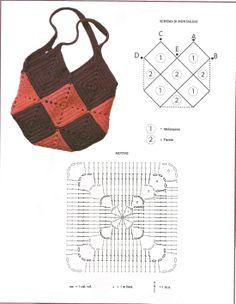 Bolso tejido a crochet chocolate con crema de fresas
