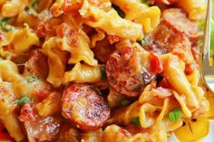 This Spicy Sausage Pasta recipe will satisfy all your cravings. It's easily one of the best pasta recipes on our entire site, and you HAVE to try it. Spicy Sausage Pasta, Sausage Pasta Recipes, Spicy Pasta, Best Pasta Recipes, Spicy Recipes, Beef Recipes, Cooking Recipes, Penna Pasta Recipes, Recipe Pasta