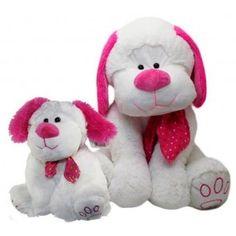 Perro de peluche rosa 50cm. (es el grande)