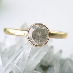 BIRTHDAY SALE Silver Diamond Engagement Ring. $1,440.00, via Etsy.
