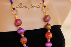 Long Polymer Clay Bead Necklace with large Fuchsia Pink, Purple, Mauve and Gold Beads on Purple Cord - illarra Jewels - $50.00