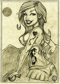 Beach girl smile pinup toon. Art by Leandro Sans.