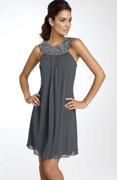 Js Boutique Beaded Chiffon Trapeze Dress in Gray (spiced gunmetal) - Lyst
