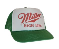 Vintage style Miller High Life beer hat Trucker hat. Vintage look. Awesome beer hat. It is a One size fits most adjustable hat with a snapback. It comes with a quality printed logo on the front . The hat is brand new. I ship ultra-fast too usually same day and I also ship worldwide. Be sure to check my Etsy store TruckerhatUSA for 100s of other hats. I have been selling Hat & accessories online successfully now for 17 years My customer service is second to none and we strive for 100% cust...