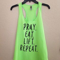 Love their Neon colored tanks with the cute Christian fitness saying!! Check them out!! Neon Green Pray.Eat.Lift.Repeat Christian Women's workout tank top. $18.00 plus shipping. We have L and XL. We are currently sold out of S and M.