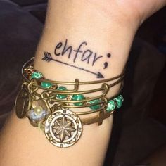 ehfar Everything Happens for A Reason Tattoo with an Arrow on Wrist.