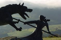 """Statue of """"La bête du Gévaudan,"""" or """"The Beast of Gévaudan."""" Made to remember the massacre that took place hundreds of years ago."""