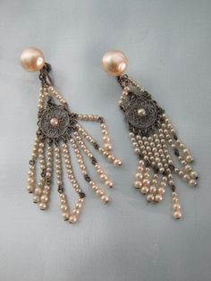 Elegant 1920's French Simulated Seed Pearl Earrings