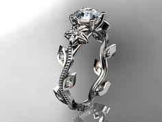 platinum diamond leaf and vine wedding ring,engagement ring. ADLR151. nature inspired jewelry. $1,525.00, via Etsy.