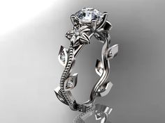 14kt white gold diamond leaf and vine wedding ring,engagement ring. ADLR151. nature inspired jewelry. $975.00, via Etsy.
