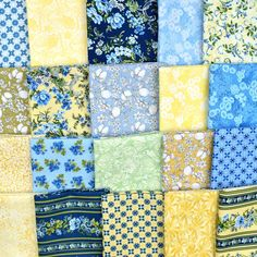 A pack of 20 fat quarters featuring blues and golds in assorted patterns   Buy this Stash Builder at its special price through 2/20 and get Free Shipping!  Limited quantities are available Fat Quarters, Blues, Packing, Quilts, Free Shipping, Patterns, Fabric, Stuff To Buy, Bag Packaging