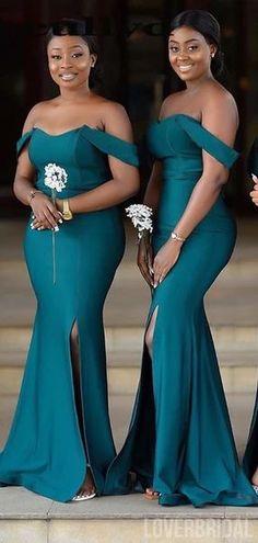 Off Shoulder Teal Mermaid Cheap Bridesmaid Dresses Online, WG781 – LoverBridal #bridesmaid #bridesmaid #weddings #bridesmaiddresses #weddingplan #weddingidea #longbridesmaiddresses #bridesmaidsdresses