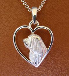 Sterling Silver Bearded Collie Head Study On A Heart by BestK9buds