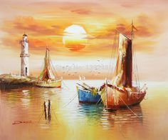 Cheap print bind, Buy Quality boat winterizing directly from China print wedges Suppliers: Please note: It's unframed/unstretched, if you need frame please contact us! Seascape Paintings, Acrylic Paintings, Boat Lights, Sailboat Painting, Lighthouse Art, Boat Art, Coastal Art, Color Of Life, Landscape Art
