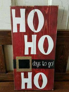 Christmas Countdown Sign-Wood Sign-Chalkboard-hohoho- Santa Sign-Glitter-Re . - Jim Mead - Christmas Countdown Sign-Wood Sign-Chalkboard-Hohoho- Santa Sign-Glitter-Re … - Christmas Countdown, Merry Christmas Sign Diy, Pallet Wood Christmas, Christmas Wooden Signs, Christmas Wood Crafts, Christmas Art, Holiday Crafts, Christmas Chalkboard, Christmas Ideas