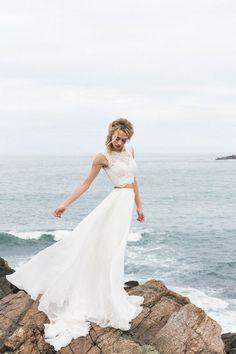 Raw + intimate seaside wedding : Two-piece BHLDN wedding dress Bhldn Wedding Dress, Outdoor Wedding Dress, Top Wedding Dresses, Boho Wedding Dress, Bridal Gowns, Wedding Gowns, Table Wedding, Reception Dresses, Wedding Receptions