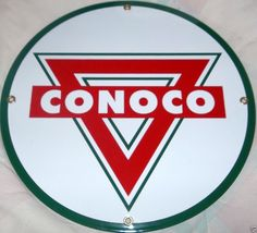 Conoco Gasoline Sign Advertising Conoco Gasoline Die Cut Porcelain Sign