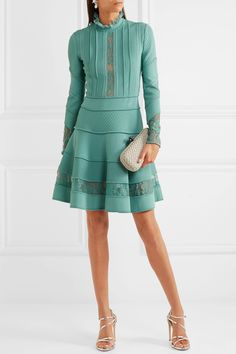Elie Saab   Lace-trimmed knitted dress   NET-A-PORTER.COM