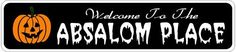 ABSALOM PLACE Lastname Halloween Sign - Welcome to Scary Decor, Autumn, Aluminum - 4 x 18 Inches by The Lizton Sign Shop. $12.99. Rounded Corners. Aluminum Brand New Sign. Predrillied for Hanging. Great Gift Idea. 4 x 18 Inches. ABSALOM PLACE Lastname Halloween Sign - Welcome to Scary Decor, Autumn, Aluminum 4 x 18 Inches - Aluminum personalized brand new sign for your Autumn and Halloween Decor. Made of aluminum and high quality lettering and graphics. Made to ...